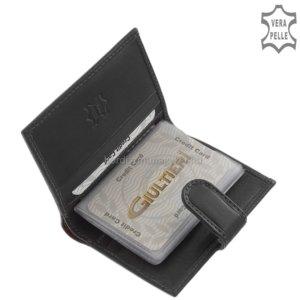 Bőr kártyatartó fekete Giultieri GA808/T