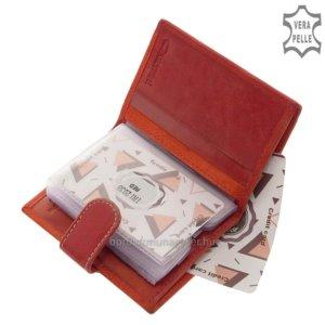 Bőr kártyatartó Giultieri TRI2038 piros