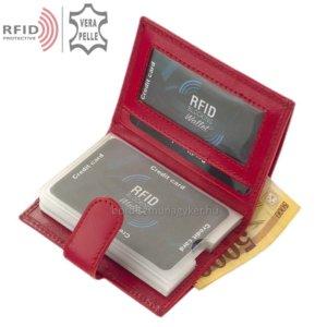 Bőr kártyatartó RFID védelemmel piros RG2038