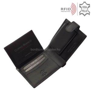 Férfi pénztárca valódi bőrből fekete RFID Corvo Bianco MUR09/T
