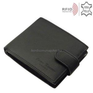 Férfi pénztárca valódi bőrből fekete RFID Corvo Bianco MUR6002L/T